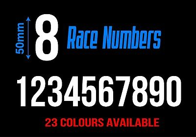 Custom Race Number Sticker Decal (50mm High) Made Rally Bike Car Motocross Boat