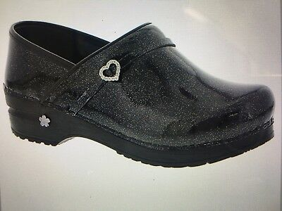 Koi by Sanita New Sparkle Black Patent Leather Clog Size 37