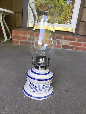 LAMPLIGHT FARMS Cobalt Blue and White Ceramic Oil/Kerosene Lamp/Lantern