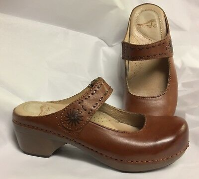 Women's Dansko Solitaire Brown Leather Mary Jane Clogs Shoes EU 36 US 5.5-6