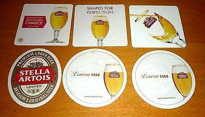 Collectable beer coasters: Set of 6 assorted Stella Artois beer coasters