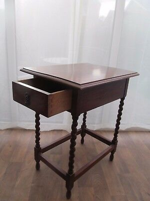 Solid  Oak Occasional Hall Table with  Drawer Barley Twist  H 72 cm Antique