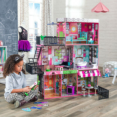 Large Kids Dollhouse Barbie Mansion Gift Set Wooden Doll House Playset Furniture