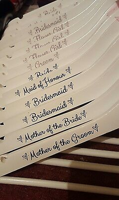 Personalised Coat hanger sticker vinyl transfer decals Role Wedding Bridal Party