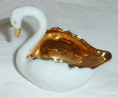 Vintage LIMOGES White Gold Swan Figurine