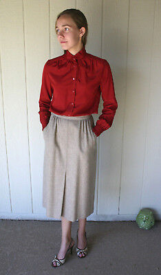 Vintage 70s 80s Pant Her A Line Wool Career Skirt Pockets Secretary Union Tag S5