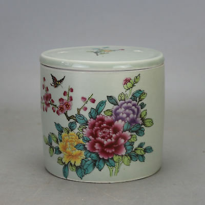 Chinese old hand-carved famille rose porcelain  flower pattern Cricket cans