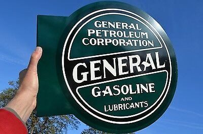 Old Style General Petroleum Motor Oil & Gas Thick Steel Flange Sign Made In Usa!