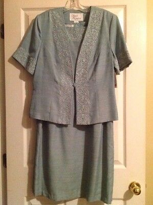 NWT Mother Of The Bride Or Groom Special Occasion Embellished Blue Dress Size 16