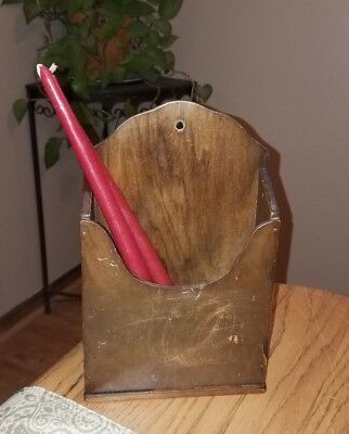 ANTIQUE Primitive/Rustic Wooden Wall Hung CANDLE BOX Holder~PATINA!
