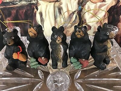 Cute Carved Wooden Bear Christmas Tree Decoration - Black Forest Style Set Of 5