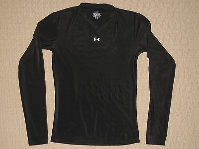 Womens Under Armour Base Layer Compression Long Sleeve LS Shirt Medium MD Black