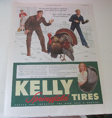 1945 original ad Kelly Springfield Tires Sailor & Soldier See Turkey at Home