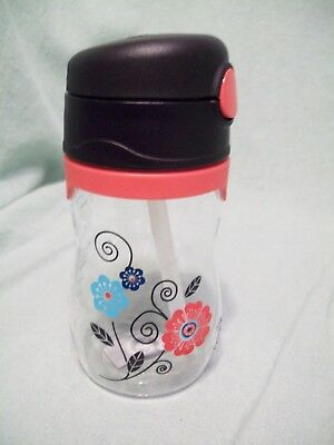 Thermos Foogo Phases Leak Proof Straw Bottle, Poppy Patch Design, 11 oz