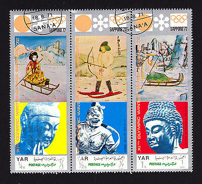 YAR Yemen strip of three cancelled CTO Sapporo 1972 Winter Olympics stamps Sport