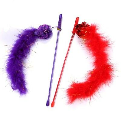 Cat Kitten Sparkly Feather Boa with Crinkle Ball, Teaser Activity Wand Toy