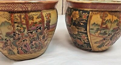 Vintage SATSUMA Flower Pots Fish Bowls PAIR 5 Inches Tall INTRICATE China