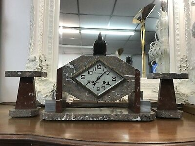 Antique French 3 Piece Art Deco Marble Clock & Garnitures 'Fritz Marti Paris'