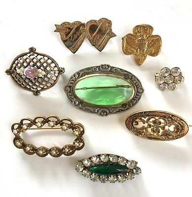 Antique Victorian Art Deco Green Glass Rhinestone Brooch Lot 8 Pcs