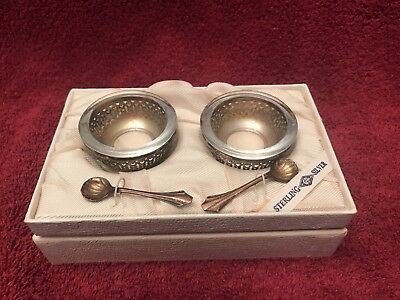 Vintage Sterling Silver Salt Cellar Set W/ Glass Liners And Spoons