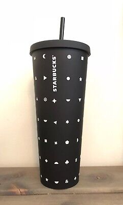 NEW STARBUCKS 2017 ACRYLIC MATTE BLACK STARS CLOVERS MOON cold cup 24 oz Venti