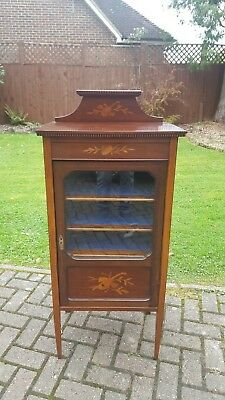 Lovely Antique Edwardian Inlaid Mahogany Music Cabinet with Shelves