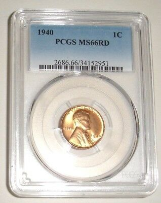 1940 1 Cent Lincoln Wheat Penny Pcgs Graded Ms 66 Rd***fast Free Shipping***