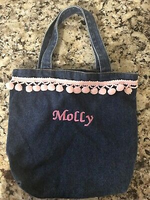Little Girls Denim Purse Bag With Name Molly