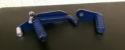 Lambretta Series1 & 2 Rear Sets Foot Pegs & Backplate Blue for scooter