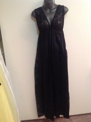 Olga JCP? Vintage Sexy Black Lace Long Night Gown Chemise Vtg S/M? 28-38 RARE