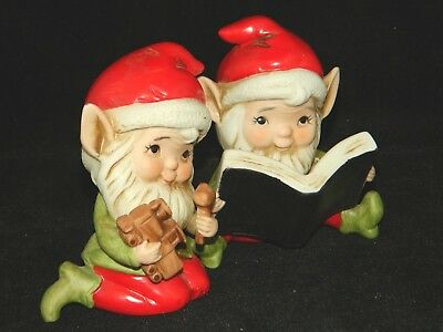VTG Set of 2 Cute Elves Elf  with Toys and Book Porcelain Figurines Homco