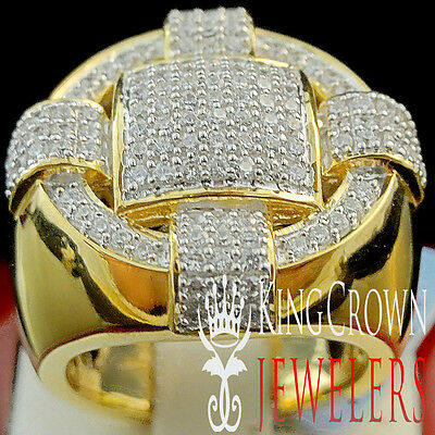 10K Yellow Gold On Real Sterling Silver Big Look Lab Diamond Mens Pinky Ring