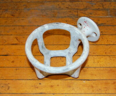 Original Antique Cast Iron Porcelain Enamel Cup Holder, Vintage Salvage