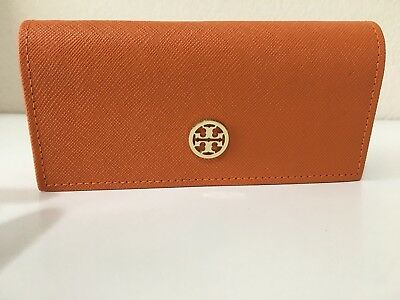 TORY BURCH Eyeglasses Sunglasses Case Orange Lined Clutch Logo Snap Closure