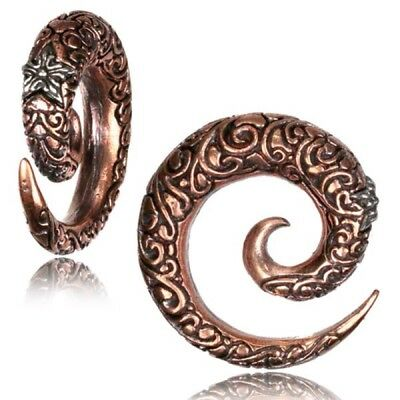Pair Copper & White Brass Carved Spirals Gauges Earrings Plugs Tunnels Expanders