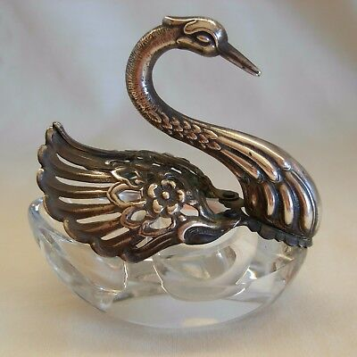 Vintage Crystal Glass  & German 835 Silver  Swan Open Salt Cellar- Open Wings