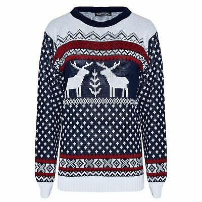 New Christmas Jumper Funny Reindeer Radoulph Mens Ladies Novelty Knitted Sweater