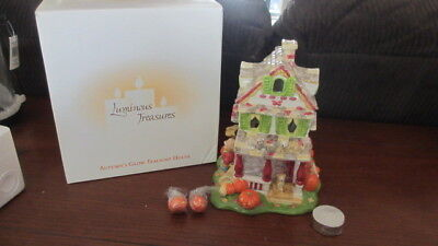 New 2002 Avon Autumn's Glow Tealight House Harvest Theme Ceramic Hand Painted
