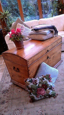 Solid Pine Dome Top Blanket Box Trunk Chest