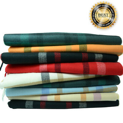 Men Women unisex 100%CASHMERE Classic Scarf Soft tartan stripe Plaid SCOTLAND