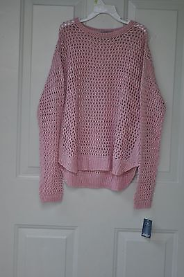 NWT Lucky Brand Kids Girl's Pink Long Sleeve Crew Neck Loose Knit  Sweater Large