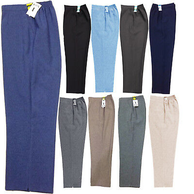 Ladies Womens  Half Elasticated Waist Work Trousers Pockets Pants Plus Size 8-24