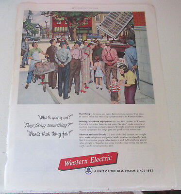 1950 original ad Western Electric People Watching Switching Equipment Lifted
