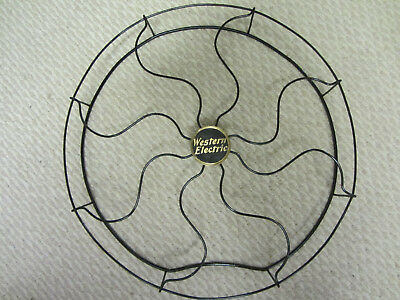 """Antique, Vintage, Fan Blade Cage, Guard, Grill. 16""""  Brass Badge"""