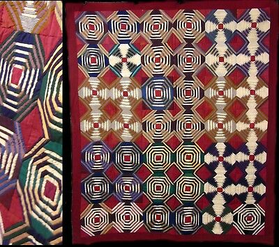 Antique/Vintage Hand Stitched Wool/Suiting Eye Dazzler Quilt BedSpread Coverlet