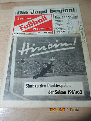 Programm Wacker 04 : Hertha BSC (u.a.) - 12. August 1961