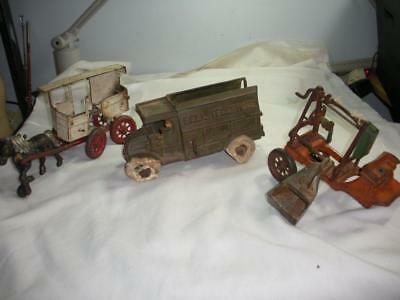 Three (3) Antique Cast Iron Toys Bell Telephone Truck ++ Parts or Repair