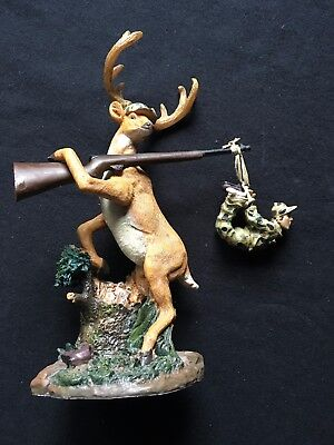 Deer Holding Hunter Tied to Gun Funny Hunter Comical Hunting Resin
