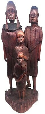African Family of Four Hand-Carved Dark Wood Statue Antique Authentic ~12.5 in.