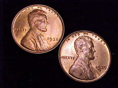 1935-P and 1939-S Brilliant Uncirculated Lincoln Cents
